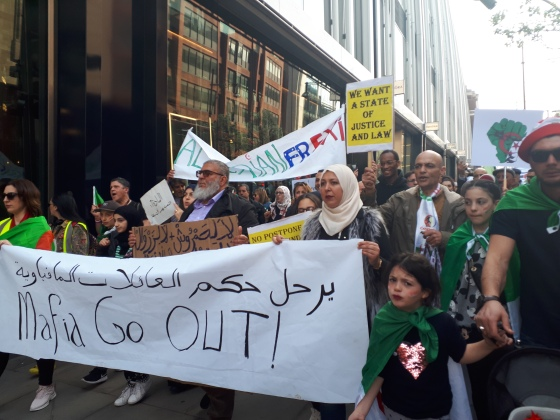 Hundreds of Algerian activists marched down Oxford St