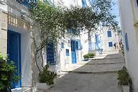 Quiet sunny day on Sidi Bou Said streets, Tunisia